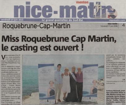 Nice-Matin: Casting Miss Roquebrune 2016