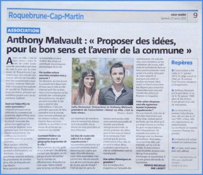 NICE-MATIN, édition Menton, le samedi 27 Avril 2013